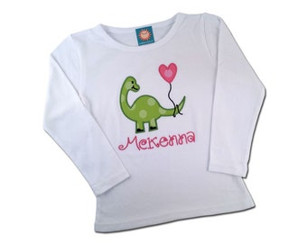 Girl's Dinosaur Valentine Shirt with Heart Balloon and Embroidered Name