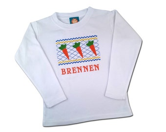 Boy's Easter Carrot Shirt with Embroidered Name