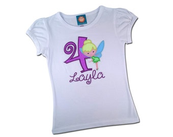 Girl's Tinker Bell Birthday Shirt with Number and Embroidered Name