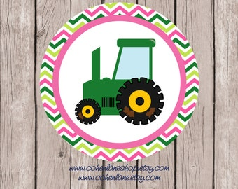 Instant Download Printable Girls Tractor Tshirt Transfer Design. Chevron Tractor Iron On.  Girls Farm Iron on.  Tractor Shirt. Birthday..