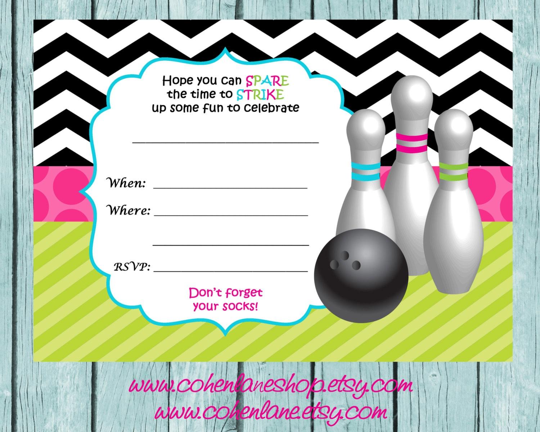 Instant Download Fill In Chevron Bowling Invitation. Fill in