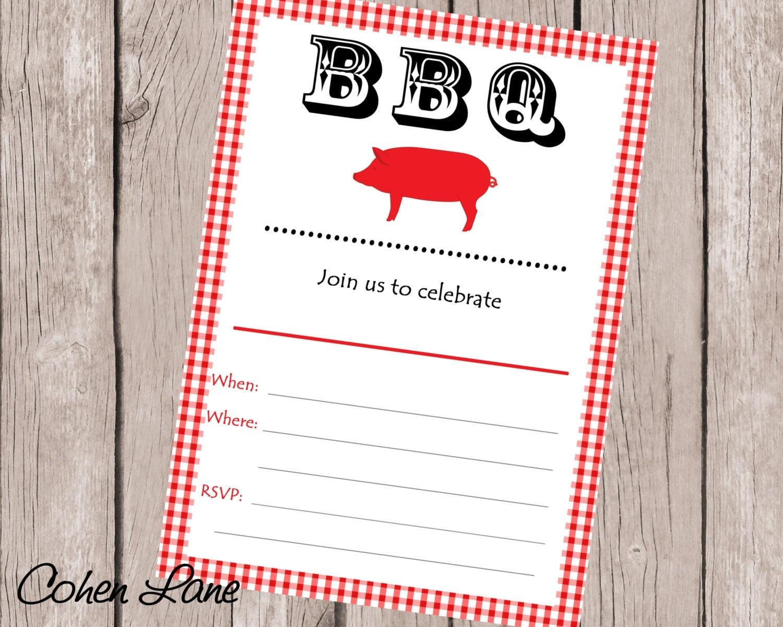 Instant Download Fill in BBQ Invitation. Fill in Invitations.