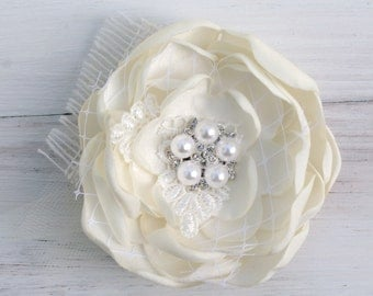 Wedding Hair Accessory Melted Satin Flower Corsage Satin Rose Flower First Communion Mothers Day Broach Flower Girl Shabby Chic