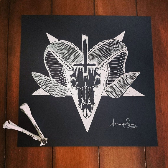 Satanic Goat Skull and Pentagram Print by WolvenWitch on Etsy