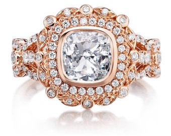 Unique Moissanite Ring 1.70ct Forever One Cushion Cut Ring .75ct Diamonds Vintage Halo Engagement Anniversary Rose GoldPristine Custom Rings