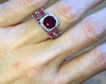 Ruby Engagement Ring Wedding Band SET 14k White Gold 7mm Cushion Cut Pigeon Blood Ruby FSI1 Round Diamonds & Rubies Ring and Matching Band