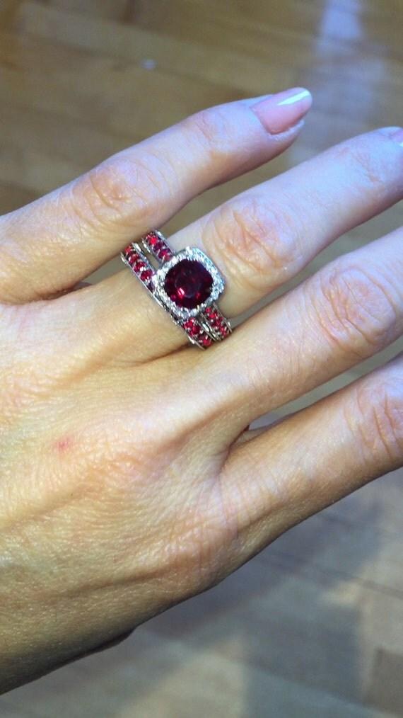Ruby Engagement Ring Wedding Band SET 14k White Gold 7mm