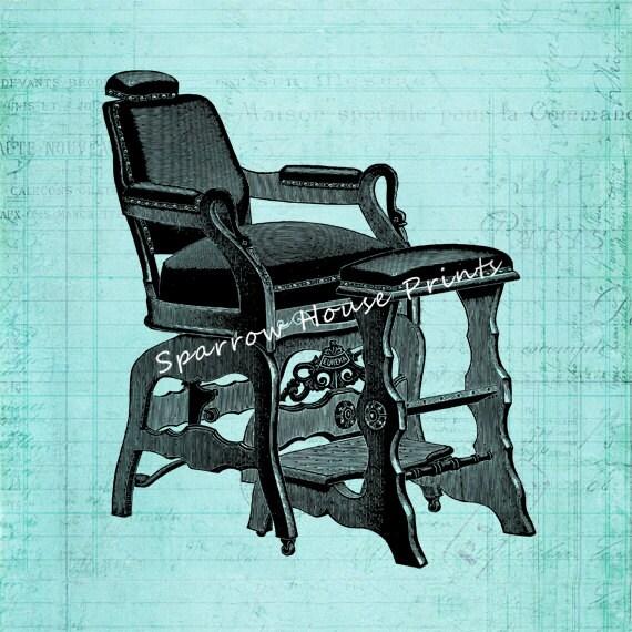 Antique barber chair art hairdresser hair salon vintage print with