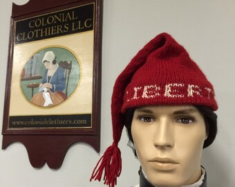 "Period-Correct 100% Wool Hand-knit ""Voyageur"" cap.  Aka ""Liberty Cap"" or ""Toque"""