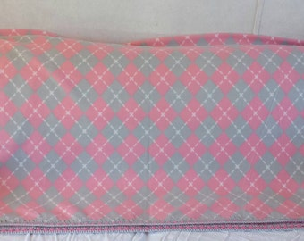 Pink & Grey Argyle Fleece Blanket