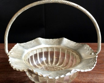 Vintage Hand Wrought Basket With Clear Depression Glass Insert Housewares Home Decor
