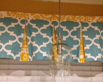 """Valance with contrasting box pleats - 51""""W x 16"""" L - choose your own fabric - window curtain - kitchen curtains"""