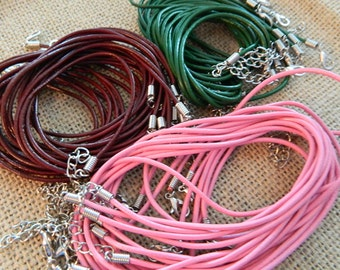 Leather Necklace Cord 2mm Thick - Multiple Colors - 18 inches -  1 Piece