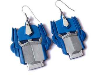 Optimus Prime character from the Transformers Earrings, Animation Character Fimo Polymer Clay Earrings, Science Fiction Robot Earrings