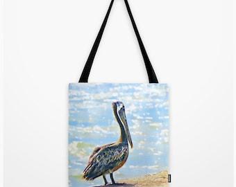 Tote Bag Pelican Texas Coastal Beach Ocean Scenery Port Aransas Texas Art