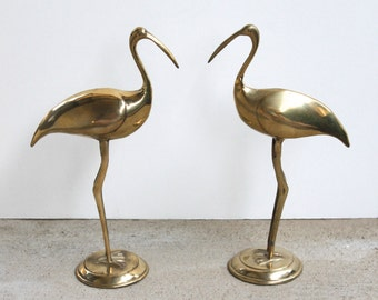 Pair of Vintage Brass Shore Birds