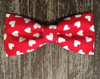 VALENTINE'S DAY Bow Tie Collar Attachment & Accessory for Dogs and Cats/Red with White Hearts