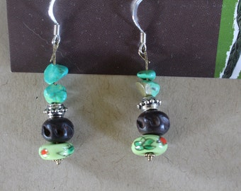 Green and wood beaded earrings
