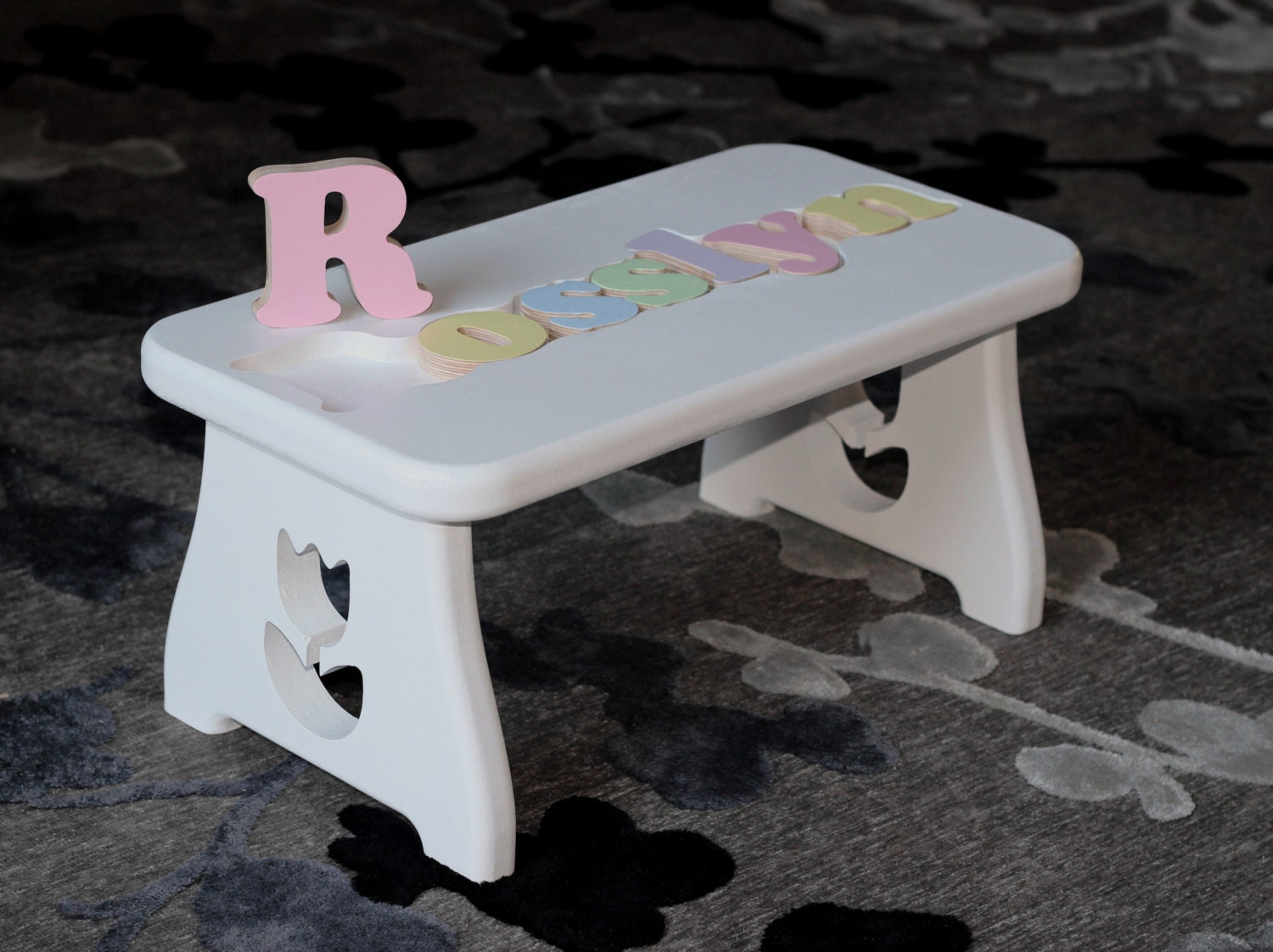 Personalized Puzzle Stool Flower Design First Birthday