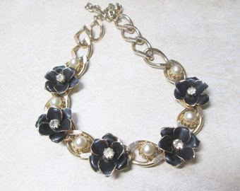 Vintage Necklace Gold Black Enamel Pearl Leaves Chunky Choker Rhinestone