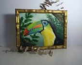 Oil Painting/ Toucan in the Rain Forest/ OOAK/ Signed by Artist/ 10 x 14/ Professionally framed w Wood Bamboo like frame/ Art under 50