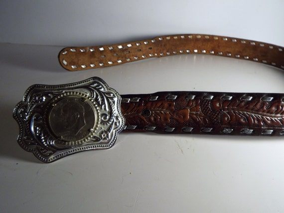 sale tooled leather belt with silver tone silver by jjsbottega