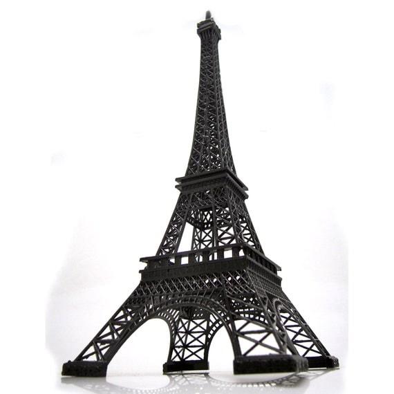Paris Eiffel Tower Pillow 16 X 16: Tall Giant Black Eiffel Tower Paris France Statue By PartySpin