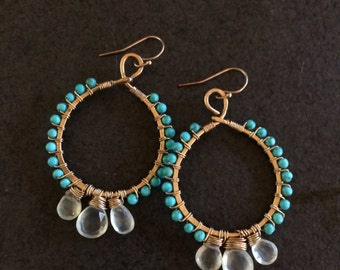 Beaded Gold & Turquoise Hoops with Triple Crown