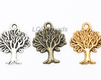 50pcs Antique Silver/Golden/Bronze Color Zinc Alloy Tree Charms Pendants