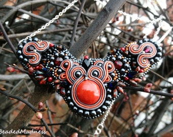 Red Gragon's Cave - beaded embroidery necklace with soutache elements