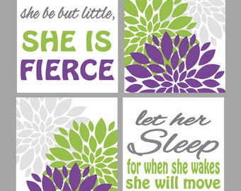 And though she be but little she is fierce Let her Sleep she will move mountains Purple Lime Green Gray Flower Bursts Nursery Room Prints