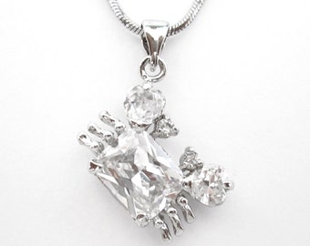 Cubic Zirconia CZ Crystal Crab Ocean Beach Pendant Charm Chain Necklace Silver Tone Clear
