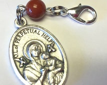 Our Lady of Perpetual Help Rosary Marker/Zipper Pull with Red Jasper Stone