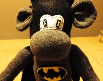 Handmade Batman Sock Monkey