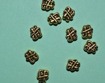 10 - Tibetan Antiqued Knot spacer beads  (3011002)