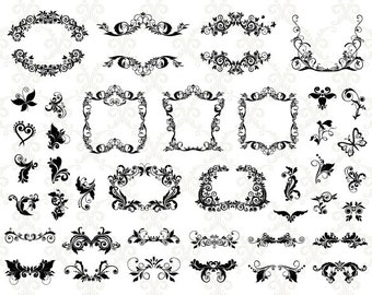 Instant Download Digital Flourish Swirl Frame Decor Clip Art Swirl Frame ClipArt Scrapbook Decoration Embellishment  Digital Label 0093