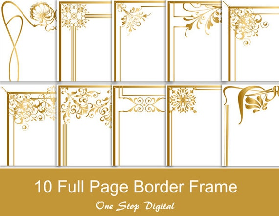Gold Digital Full Page Frames Borders Clip Art Border Frame