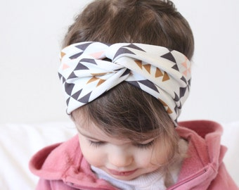 Baby Turban Headband, Baby Head Wrap, Toddler Turban, Turband [Triangle Aztec Tribal Twist Turban, 0-6 mths // TT-TRIANGLEAZTECTRIBAL-01]
