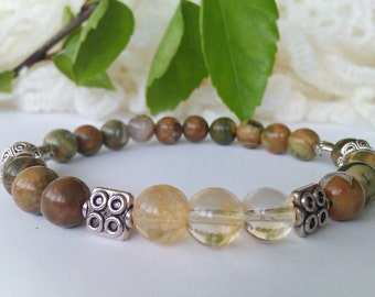Gemstone Stretch Bracelet, Rainforest Jasper Bracelet, Citrine Bracelet,Jasper Beads Bracelet,Natural Stone Bracelet,8mm Bead Bracelet Women