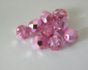 Metallic Pink Czech Glass Beads 8 mm Faceted Round - 35 pcs
