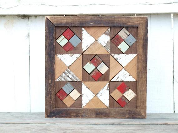 wooden barn quilt, mosaic quilt block, scrap quilt block