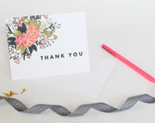 Floral Modern Thank You Notes | Wedding and Baby Shower Thank You Cards | Flowers | Elegant, Understated, Simple Thank You | Faux Watercolor