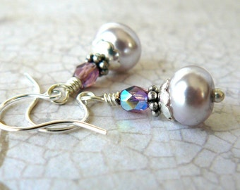 Mauve Pearl Earrings, Pale Lavender and Amethyst Glass Pearl Dangles, Small Mauve and Silver Earrings, Vintage Style Jewelry