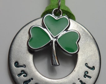 Hand stamped Stainless Steel Irish Girl Necklace with Shamrock charm~ Your color choice!