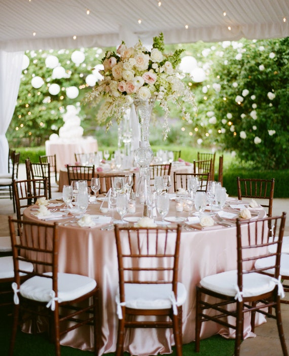 Blush pink satin tablecloth light baby