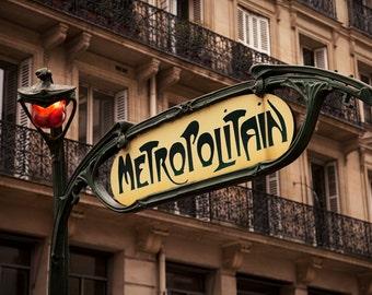 Paris Metro Sign, Paris, France, Metro, Fine Art Photography, Paris Photography, Wall Decor, Home Decor, Paris Print, Art Print, Paris Metro