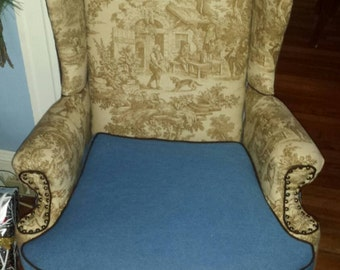 Toile and Denim Chair (SOLD)