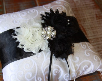 Ring Bearer Pillow, Black Ring Pillow, Ring Pillow, Shabby Chic Ring Pillow, YOUR CHOICE COLOR