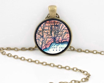 Vintage Map Long Island Sound New Haven Connecticut Pendant Necklace or Key Ring