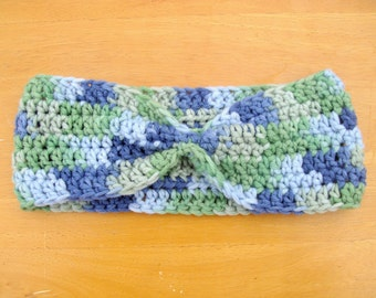 Blue and Green Headband | Blue and Green Earwarmer | Retro Headband | Cinched Headband | Cinched Earwarmer | Blue and Green Retro Headband